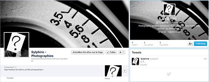 La page Facebook et le compte Twitter... forcément un peu vides !