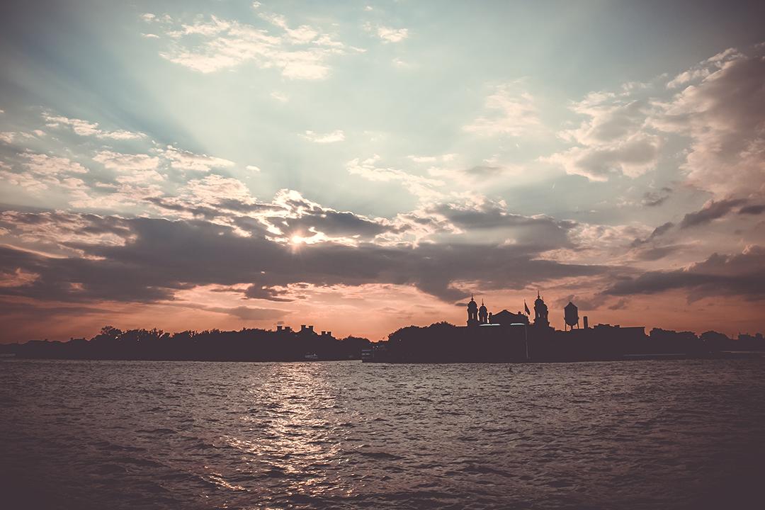 Sunset on Ellis Island